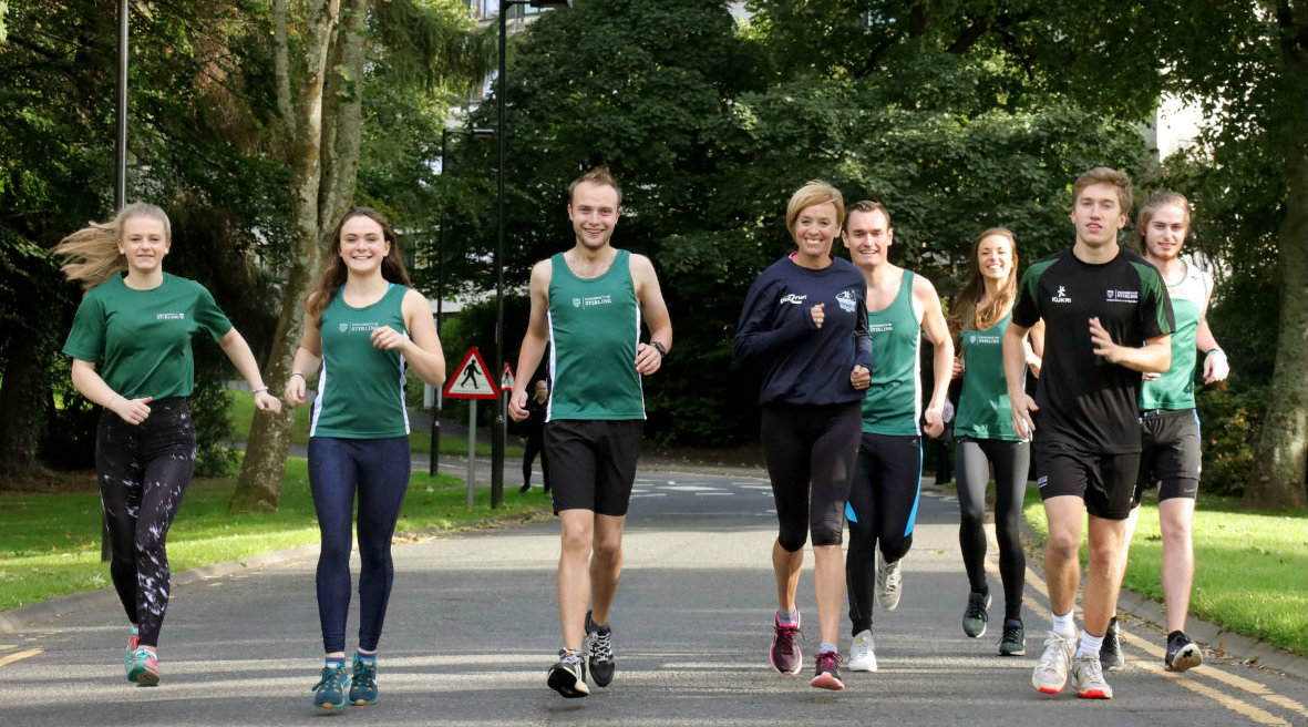 Liz McColgan joined University students on campus to try out the marathon route