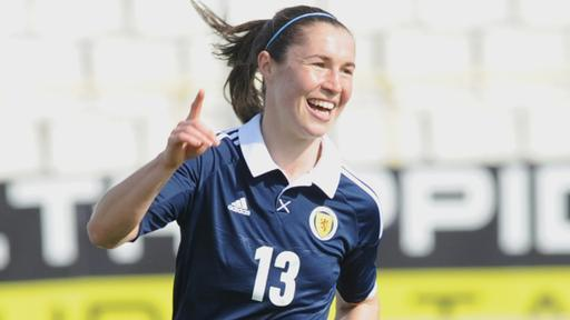Jane Ross celebrates scorign Scotland's 1st in the game at the Cyprus Cup 2013 game between Italy and Scotland