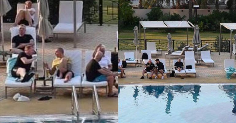 Celtic staff enjoyed a beer by the pool on their trip. Image Credit Benchwarmers