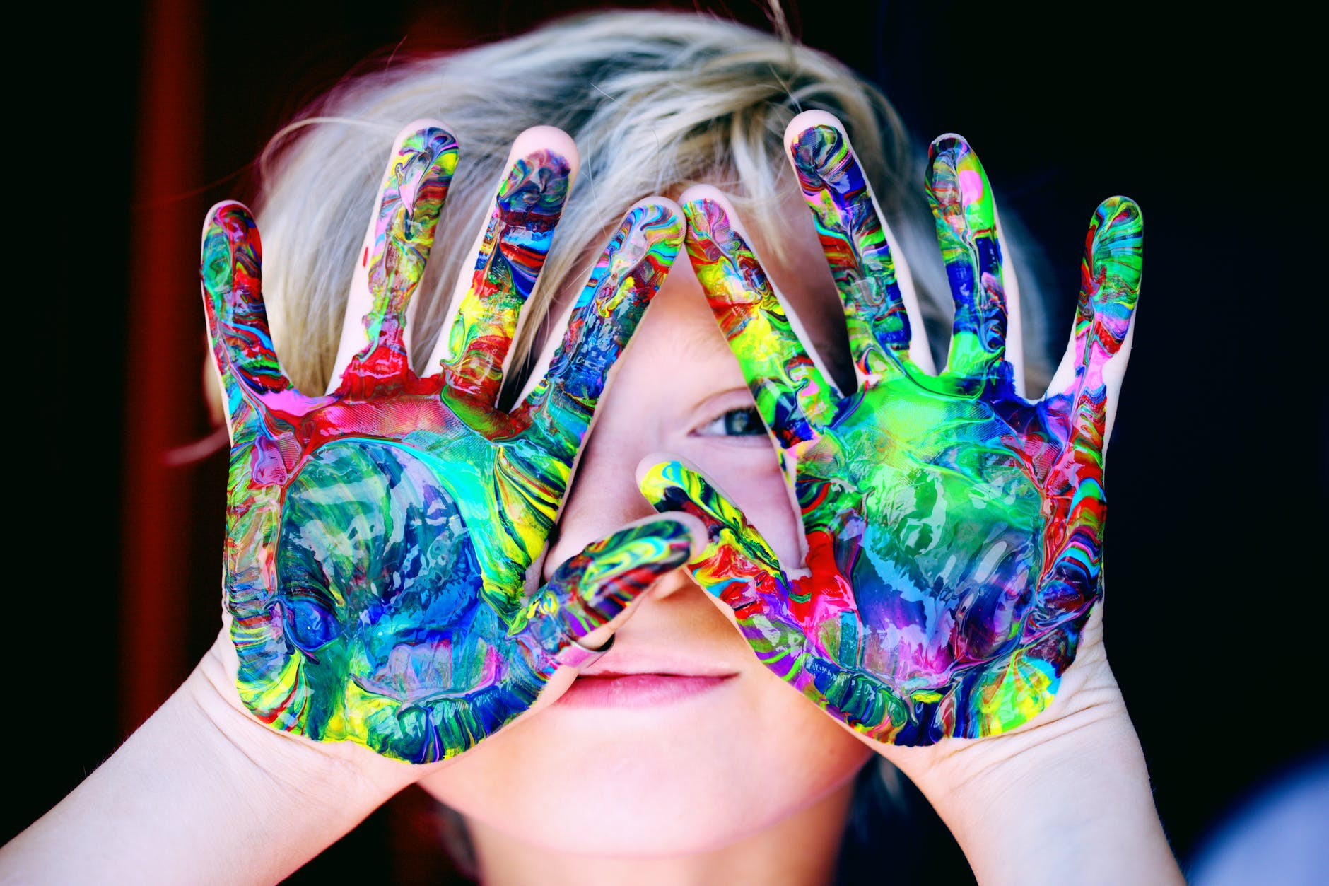 children multicolored hand paint