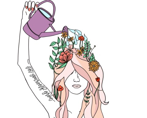 girl watering herself with, flowers growing from her mind