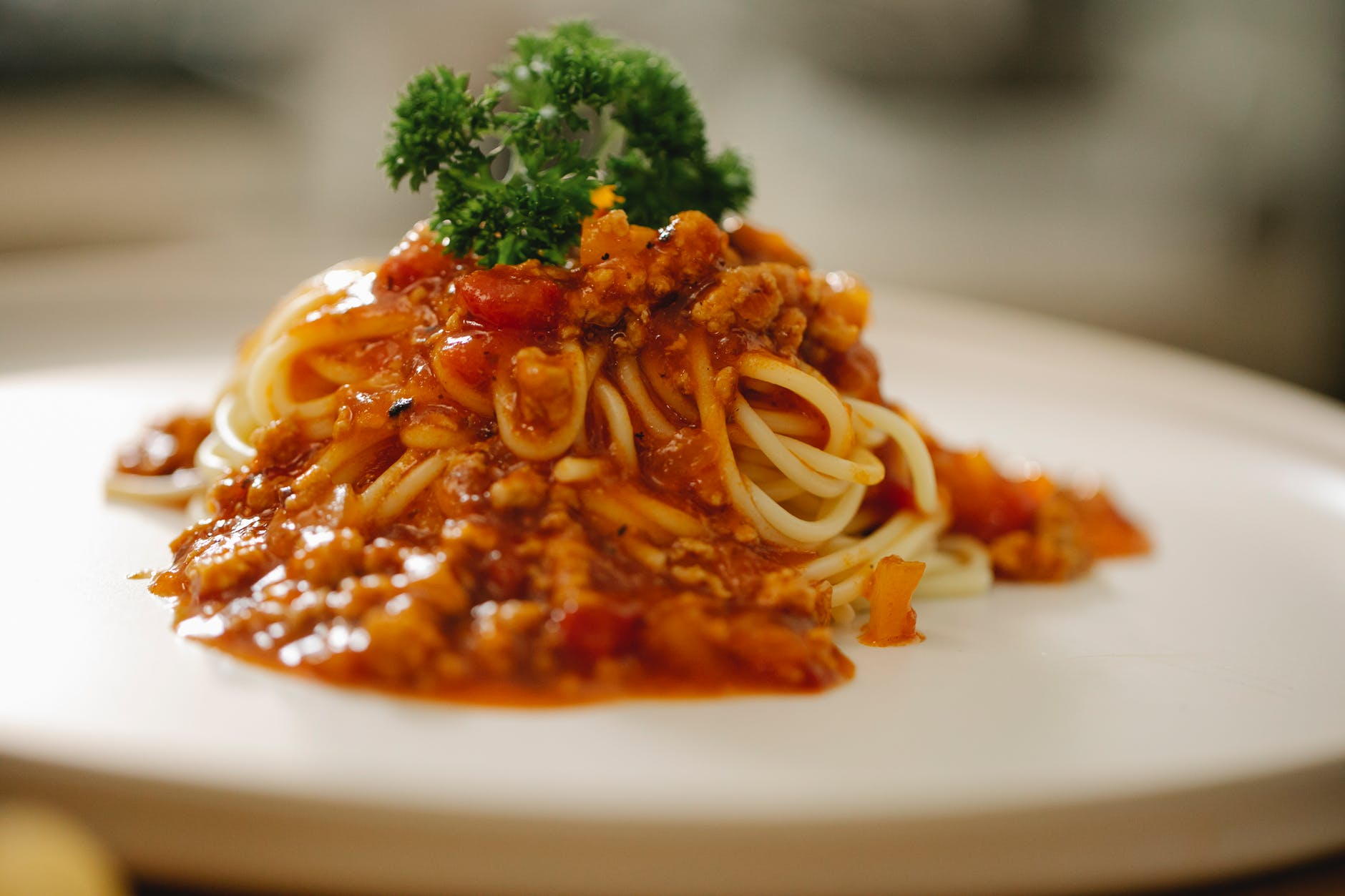 appetizing pasta bolognese served with parsley