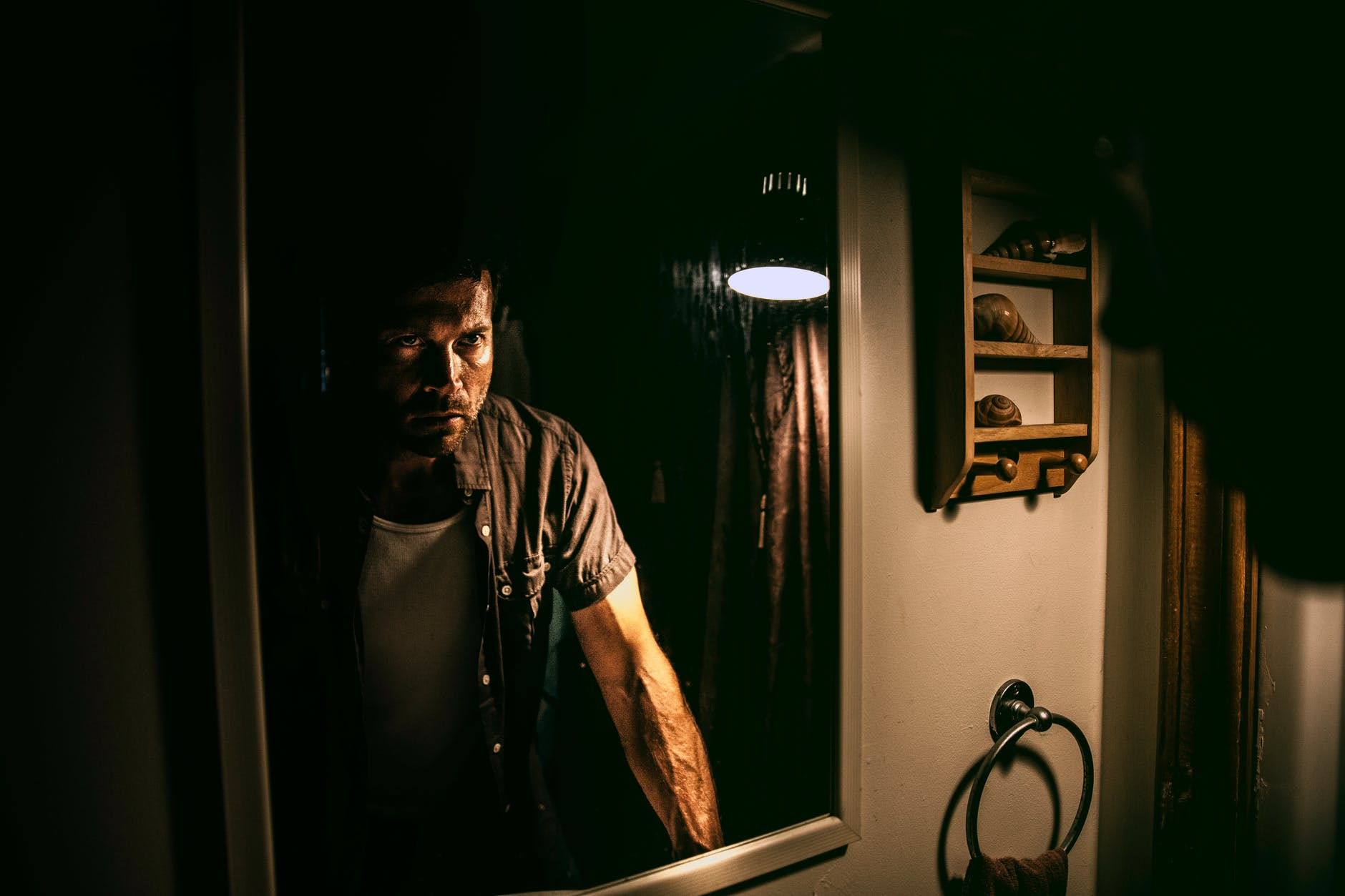 man standing in front of mirror